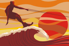 On the wave - water skiing Royalty Free Stock Images