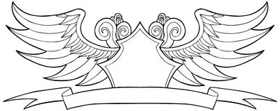 Wave Wind Crest. Hand drawn artsy pattern of waves and wings with crest symbol Stock Image