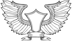 Wave Wind Crest. Hand drawn artsy pattern of wings with crest symbol Royalty Free Stock Images