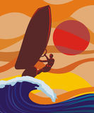On the wave - windsurfing Stock Image