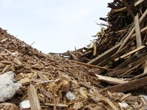 Wave of wood stack on a demolition site Royalty Free Stock Images