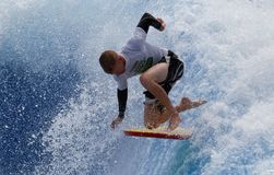 Waveboard-Weltmeisterschaft in Mallorca, südafrikanischer Reiter stockfotos