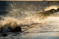 Wavebreaker in the sea Stock Photography