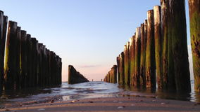 Wavebreakers in the netherlands, europe in 1080p Royalty Free Stock Photography