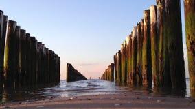 Wavebreakers in the netherlands, europe in 1080p stock video