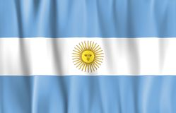 Waved Argentina Flag Stock Photography
