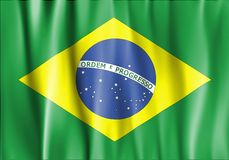 Waved Brazil Flag. Waved and colorful Brazil Flag Stock Images