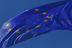 Waved European Union flag Stock Images