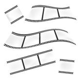 Waved film or camera strips on white background. Set of waved film or camera strips on white background Royalty Free Stock Image