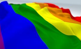 Waved gay pride flag Stock Photo
