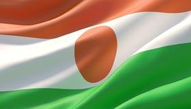 Waved highly detailed close-up flag of Niger. 3D illustration. stock images
