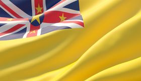 Waved highly detailed close-up flag of Niue. 3D illustration. stock images