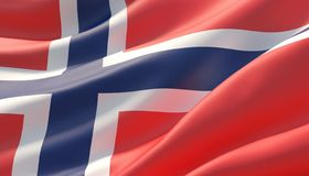 Waved highly detailed close-up flag of Norway. 3D illustration. royalty free stock photography