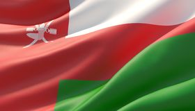 Waved highly detailed close-up flag of Oman. 3D illustration. stock photo