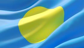 Waved highly detailed close-up flag of Palau. 3D illustration. stock photo
