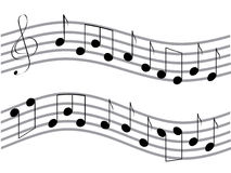 Waved music notes Stock Image