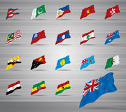 Waved national flags Stock Photo