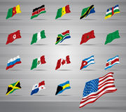 Waved national flags Royalty Free Stock Photo