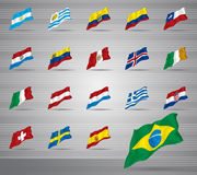 Waved national flags Royalty Free Stock Images