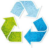 Waved recycling symbol. Vector illustration of recycling symbol textured. Global colors Royalty Free Stock Photos