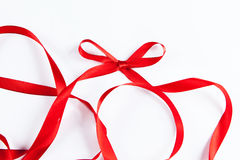 Waved red ribbon isolated on white background Royalty Free Stock Photo
