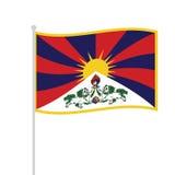 Waved tibetan flag Stock Photo