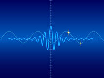 Waveform in blue background Stock Images