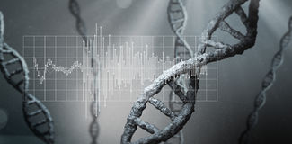 Waveform on grid. Against view of dna Stock Photo