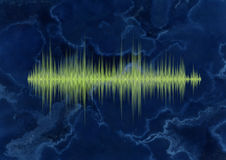 Waveform on the sea themed background. Green waveform on the sea themed background Royalty Free Stock Photography
