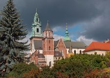 Wavel Cathedral.Krakow. The Royal Archcathedral Basilica of Saints Stanislaus and Wenceslaus on the Wawel Hill,next to the Wavel castle royalty free stock images