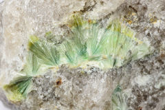 Wavellite in vein quartz Royalty Free Stock Images