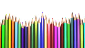 WavePencils. Wave shape of colorful pencils isolated on white background Stock Images