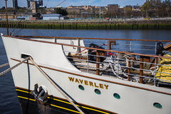 Waverley at the Clydeside, Glasgow, Scotland, UK. The World famous Paddle Steamer Waverley at the Clydeside next to the Glasgow Science Centre Royalty Free Stock Image