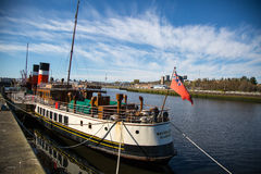 Waverley at the Clydeside, Glasgow, Scotland, UK. The World famous Paddle SteamerWaverley at the Clydeside next to the Glasgow Science Centre Royalty Free Stock Photography