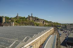 Waverly Station as seen from Waverly bridge. EDINBURGH, SCOTLAND - 26th May 2017 - Waverly is the main station in Edinburgh with over 20 platforms in operation Royalty Free Stock Photography