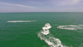 Waverunners in Miami aerial gopro video Royalty Free Stock Photo