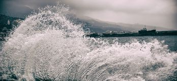 Waves Вuring A Storm In The Port. Stormy Weather. Stock Photo