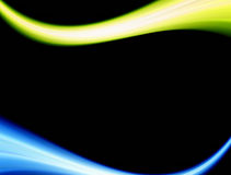 Waves. Blue and green waves over black background Royalty Free Stock Photography