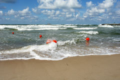 Waves. On the beach in Darlowo - seaport Royalty Free Stock Images