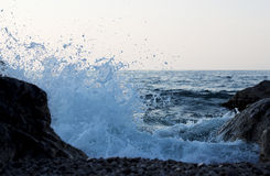 The waves. Of the Black Sea breaking on shore Royalty Free Stock Photos
