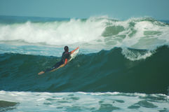 Into the waves. Surfer paddling into the surf Stock Photos
