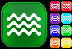Waves. Icon of water on shiny square buttons Vector Illustration