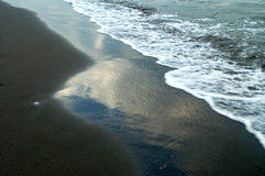 Waves. On the sand beach in ulcinj Stock Photo