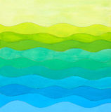 Waves abstract gouache collage naïve art. Collage of gouache painted waves in different tones of blues, greens and yellows Royalty Free Stock Photography