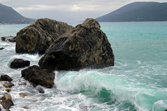 The waves of the Adriatic Sea. Cloudy day on the stormy sea royalty free stock images