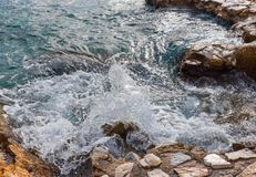 Waves Aegean Sea, Skiathos, Greece. landscape. Azure waters of the aegean sea on the island of Skiathos, Greece. Rocky shores stock image