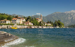 Waves along the coast of Lake Como at the Town of Tremezzo Stock Image