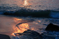 Waves Along the Jetty at Sunrise Royalty Free Stock Image