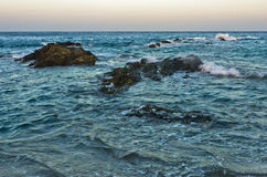 Free Waves And Dangerous Sea Rocks At Sunset, South Coast Of Sithonia Stock Photo - 76275230