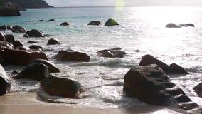 Waves at Anse Lazio, Praslin island, Seychelles. Waves at Anse Lazio beach, Praslin island, Seychelles stock video